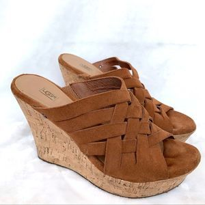 Ugg Brown Cork Leather Woven Wedges 9 Wide